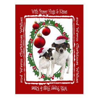 Toy Fox Terrier Hugs Kisses Christmas Postcard