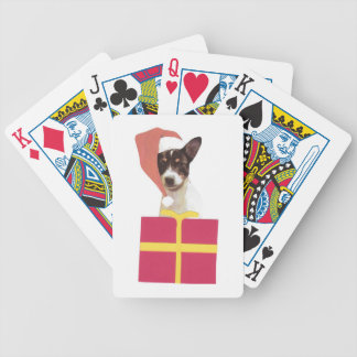 Toy Fox Terrier Santa Hat Playing Cards