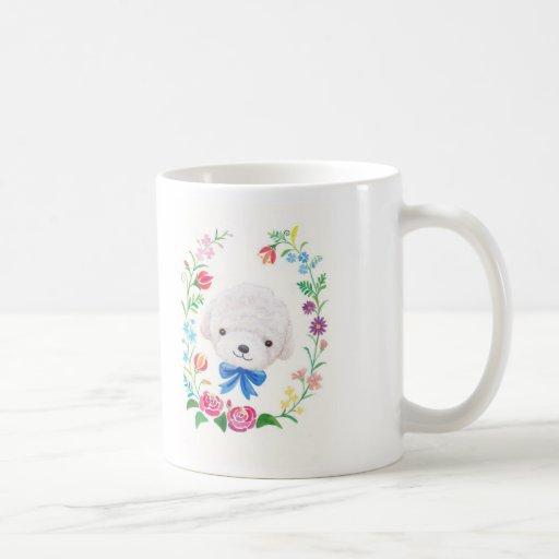 Toy Poodle Bichon Frisé Puppy Dog Flowers Floral Coffee Mugs