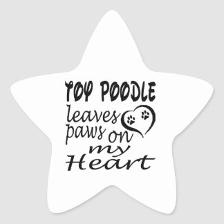 Toy Poodle Dog Leaves Paw On My Heart Sticker