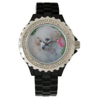 Toy Poodle dog rhinestone wrist watch
