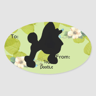 Toy Poodle ~ Green Leaves Design Oval Sticker