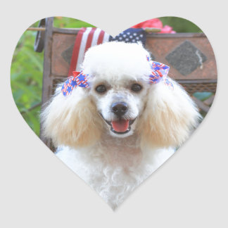 Toy poodle puppy heart sticker