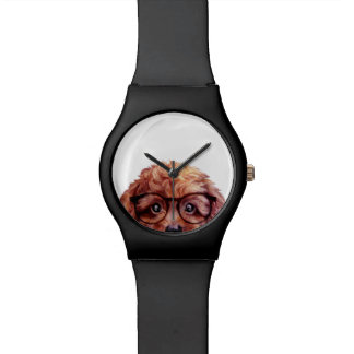Toy poodle reddish brown with glasses wristwatch