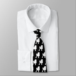 Toy Poodle Silhouettes Pattern White and Black Tie