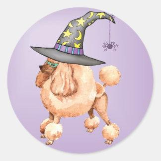 Toy Poodle Witch Round Sticker