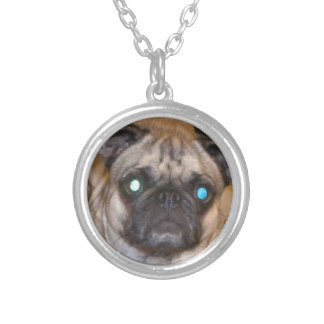 Toy Pug Silver Plated Necklace