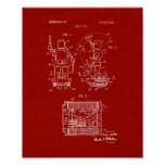 Toy Robot Patent - Burgundy Red Poster