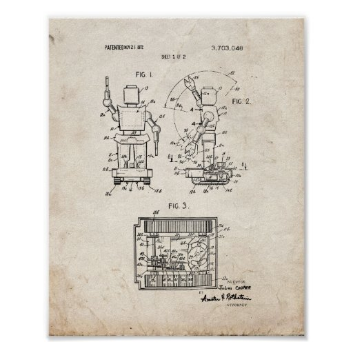 Toy Robot Patent - Old Look Poster