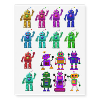 Toy Robots Tattoo Quirky blue purple green red
