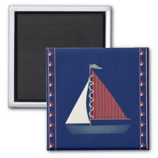 Toy Sailboat Square Magnet