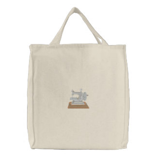 Toy Sewing Machine Embroidered Tote Bag