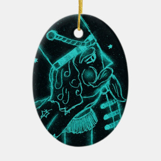 Toy Soldier in Black and Aqua Christmas Ornament