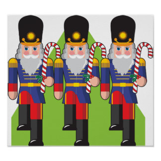 Toy Soldiers Holding Candy Canes Poster