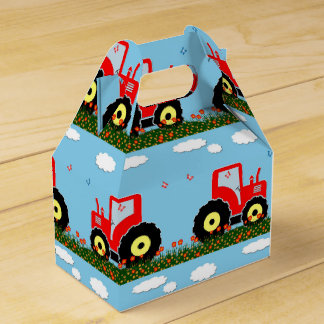 Toy tractor pattern wedding favour boxes