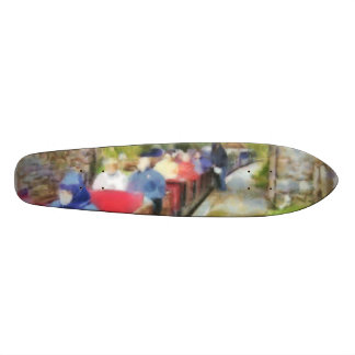 Toy train and adult passengers 20 cm skateboard deck