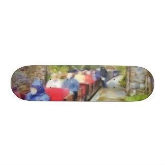Toy train and adult passengers custom skate board
