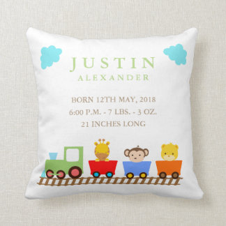 Toy Train Baby Birth Announcement Pillow
