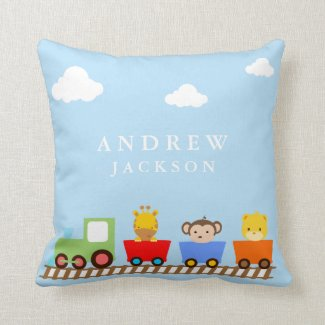 Toy Train Baby Boy Nursery Pillow