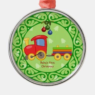 Toy Train, Baby's First Christmas Silver-Colored Round Decoration