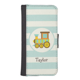 Toy Train; Brown, Orange, Yellow, Teal, Blue iPhone 5 Wallet