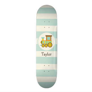 Toy Train; Brown, Orange, Yellow, Teal, Blue Skate Board