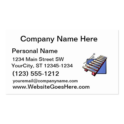 Toy xylophone with mallets, blue graphic business card templates