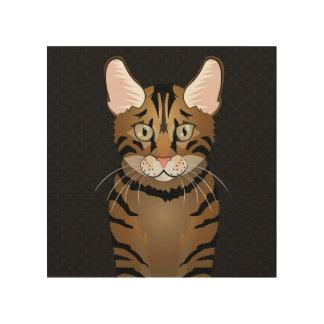 Toyger Cat Cartoon Paws Wood Canvas
