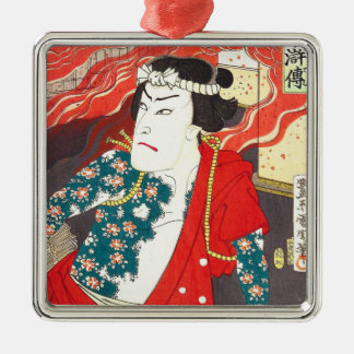 Toyohara Kunichika: Kabuki - Tattooed Firefighter Silver-Colored Square Decoration