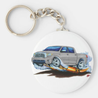 Toyota Tundra Crewmax Silver Truck Basic Round Button Key Ring