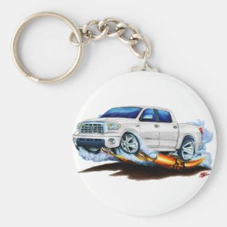 Toyota Tundra Crewmax White Truck Basic Round Button Key Ring