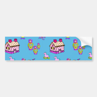 Toys – Pink Dollhouses & Turquoise Kites Bumper Stickers