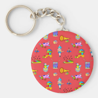 Toys – Purple Drums and Golden Horns Basic Round Button Key Ring