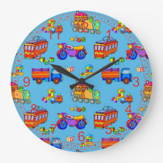 Toys - Red Trucks & Orange Trains Clocks