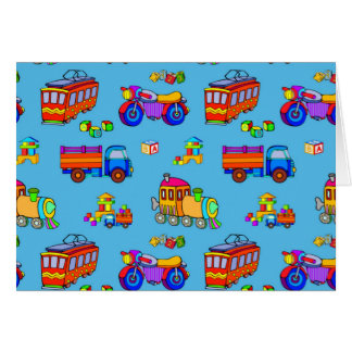 Toys - Red Trucks & Orange Trains Greeting Card