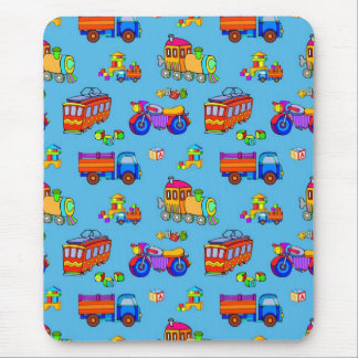 Toys - Red Trucks & Orange Trains Mouse Mats