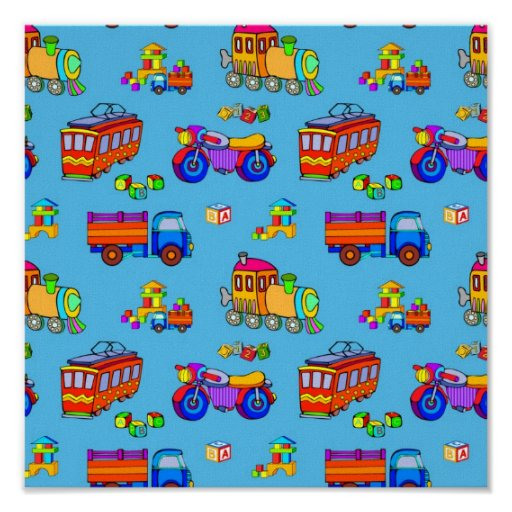 Toys - Red Trucks & Orange Trains Poster