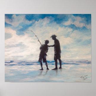 TQuinn art sun and dad fishing Poster