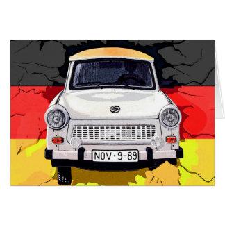 Trabant Car and German Flag, Berlin Wall Card