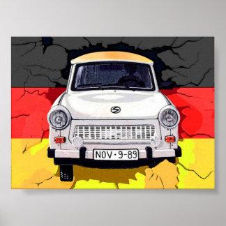 Trabant Car and German Flag, Berlin Wall Poster