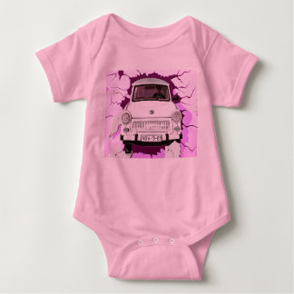 Trabant Car and Pink/Lilac Berlin Wall Baby Bodysuit