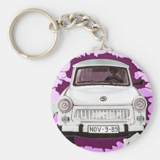 Trabant Car and Pink/Lilac Berlin Wall Basic Round Button Key Ring