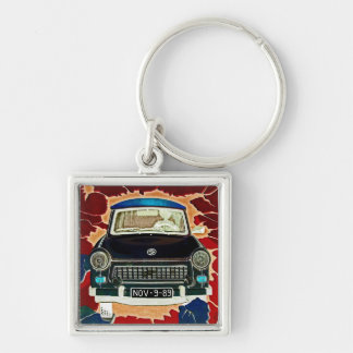 Trabant Car , Browns and Reds, Berlin Wall Silver-Colored Square Key Ring