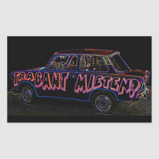 Trabant Car for Rent(Mieten),Black Back Rectangular Sticker