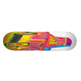 Trabant Car for Rent(Mieten),Rainbow,White Back 21.3 Cm Mini Skateboard Deck
