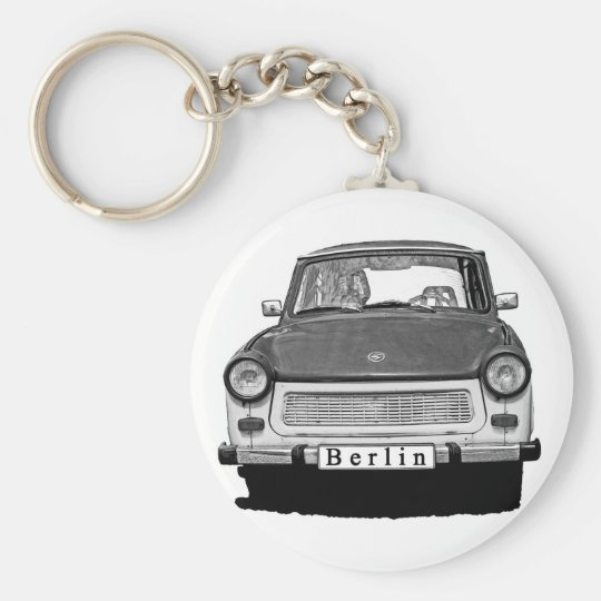 Trabant Car Front, Black and White,  Berlin Basic Round Button Key Ring