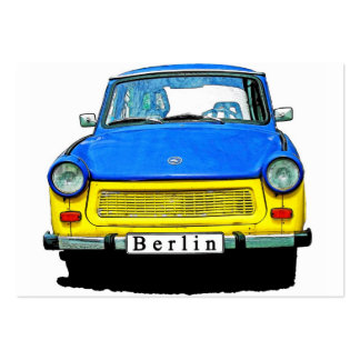 Trabant Car Front, Blue & Yellow,  Berlin Pack Of Chubby Business Cards