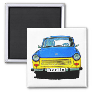 Trabant Car Front, Blue & Yellow,  Berlin Square Magnet