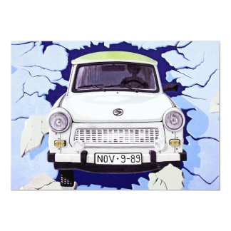 Trabant Car , Pale Blue, Berlin Wall 13 Cm X 18 Cm Invitation Card