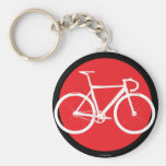 Track Bike - Red Dot Basic Round Button Key Ring